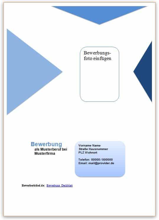 Bewerbung Deckblatt Muster, Vorlage, Beispiele kostenlos downloaden