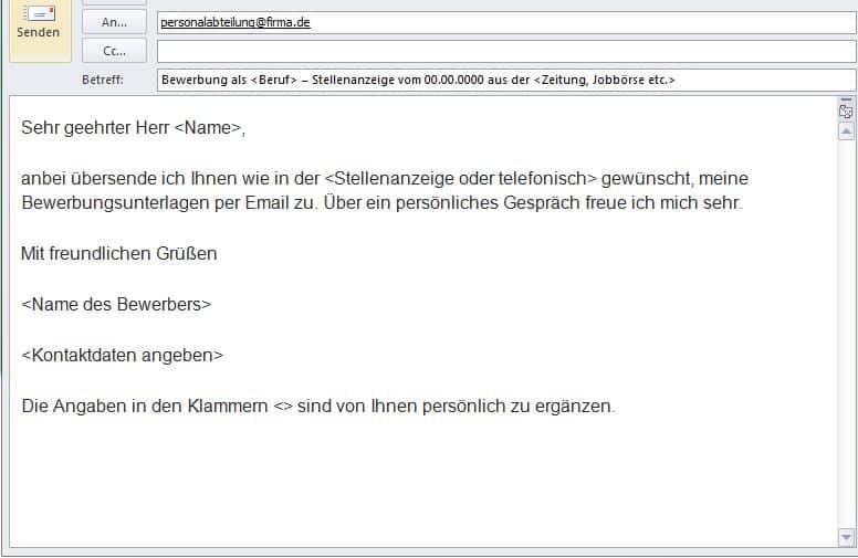Online Bewerbung Muster Email Text Online Formular Software Pdf