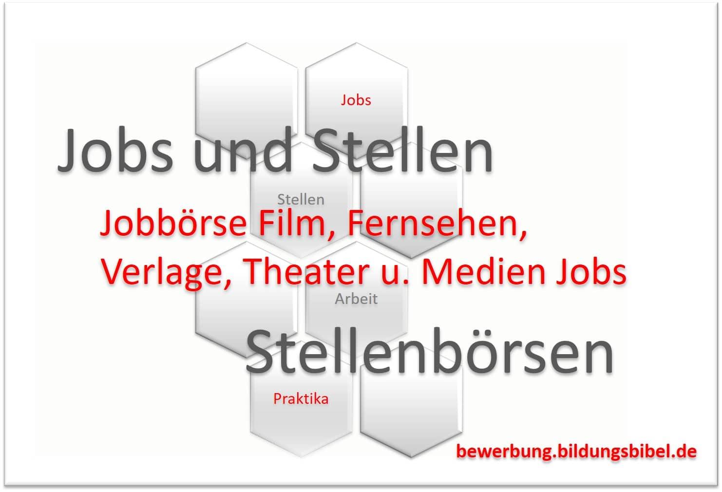 Jobbörse für Film und Fernsehen, Verlage, Theater und Medien Jobs suchen und finden.